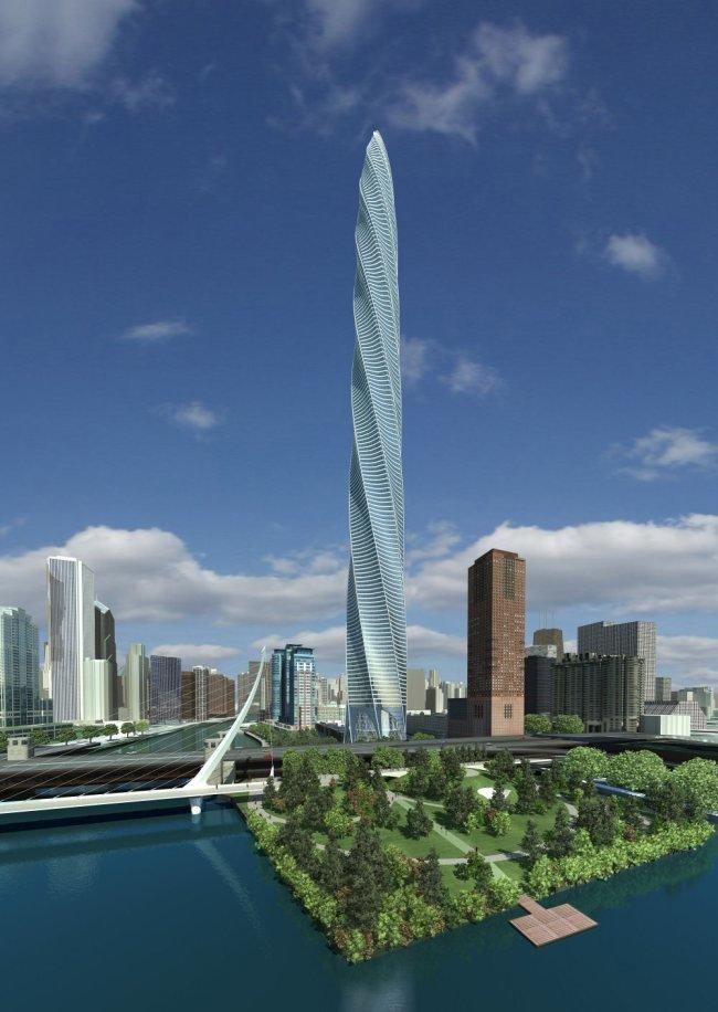 Сhicago Spire — проект знаменитого архитектора Santiago Calatrava (Чикаго, США). Высота небоскреба достигает отметки в 609 метров (150 этажей).