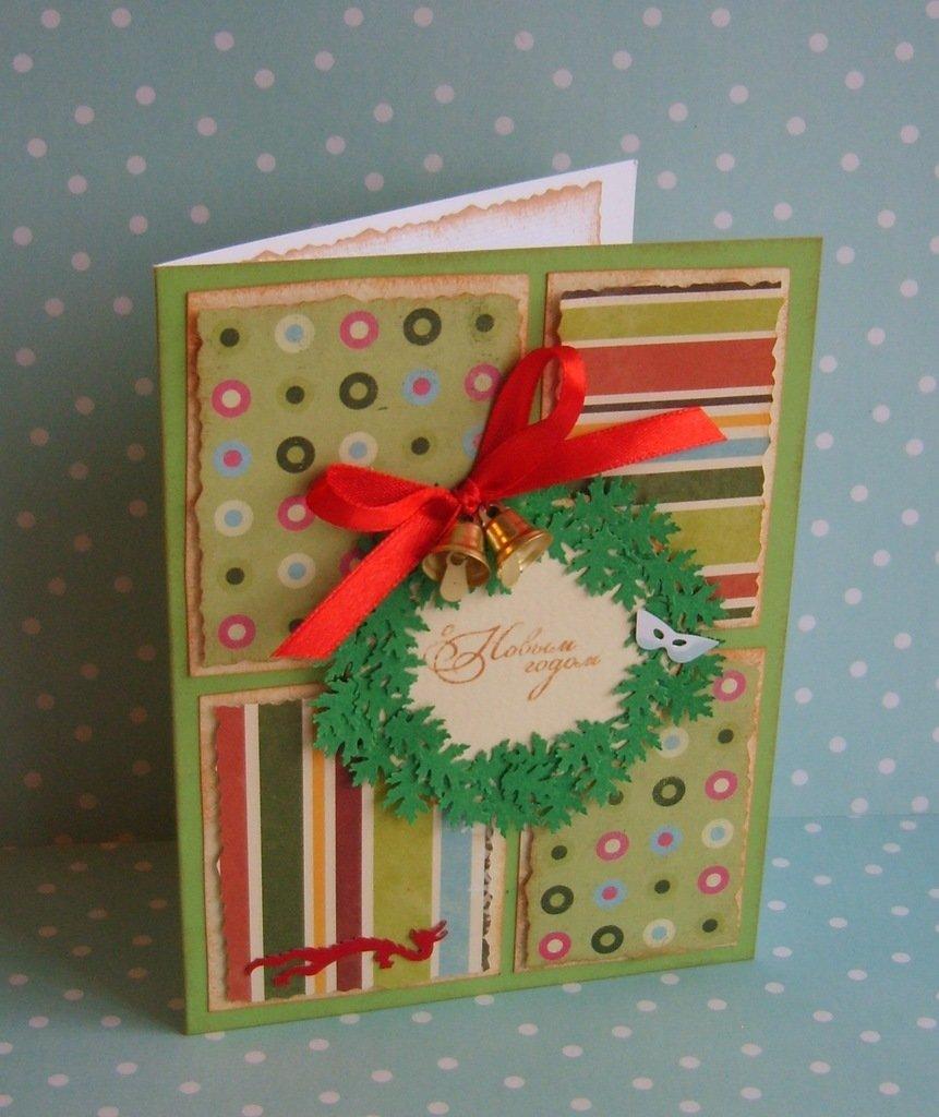 Как оформить новогоднюю открытку скрапбукинг, для