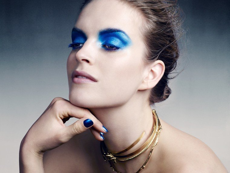Inspired by artist Yves Klein and this season's bold runway looks from Alexander Wang and Proenza, the Dior gurus are embracing blue eye shadow.