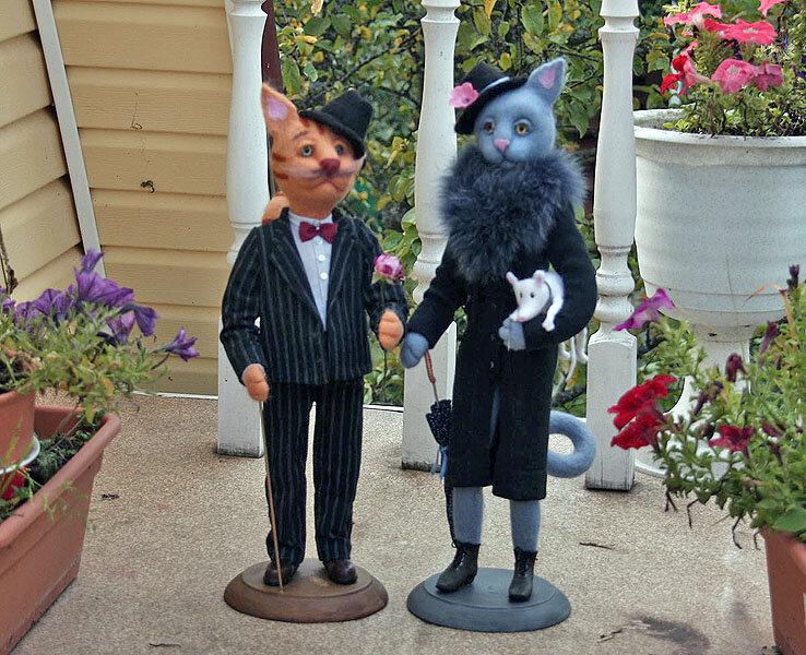 Авторская валяная кукла статуэтка Госпожа Кошкина и господин Кошкин
