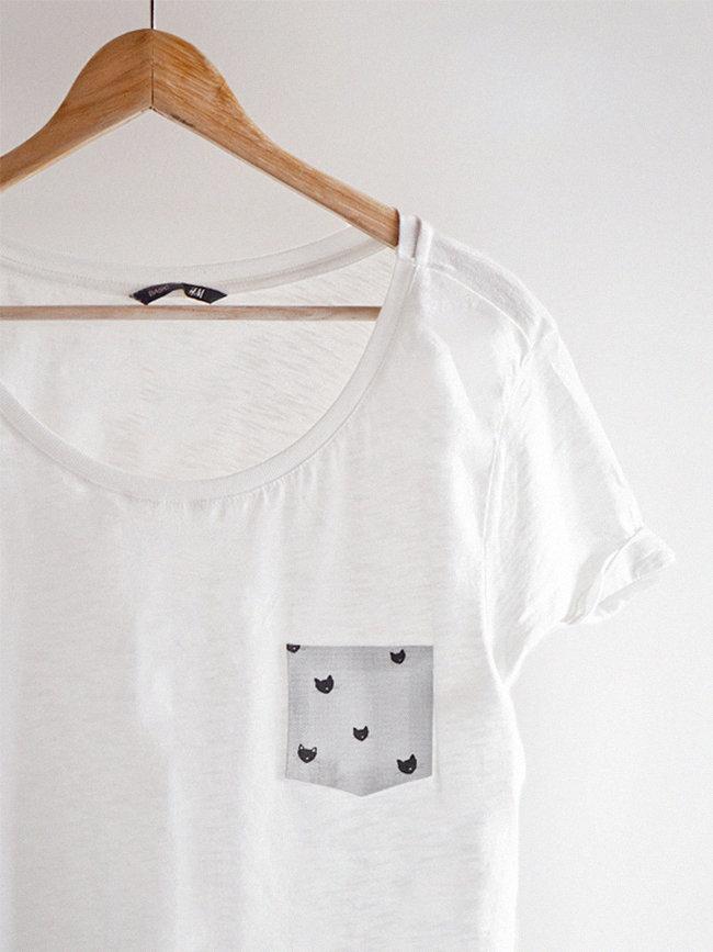 Укрась белую футболку кармашком с котиками