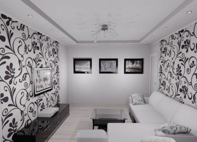черно белые обои в зал фото
