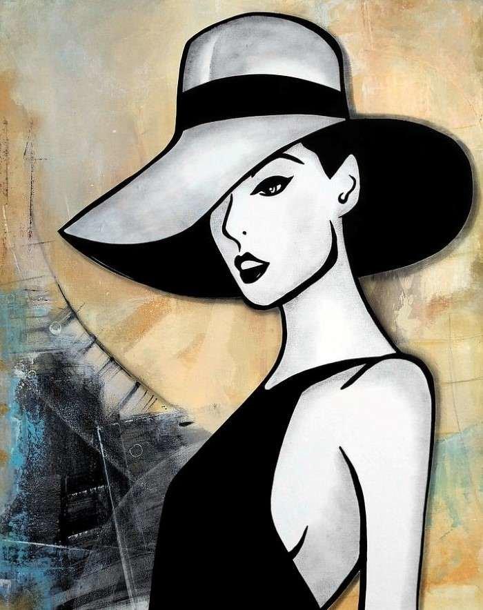 Картинки женщины в шляпах рисунки