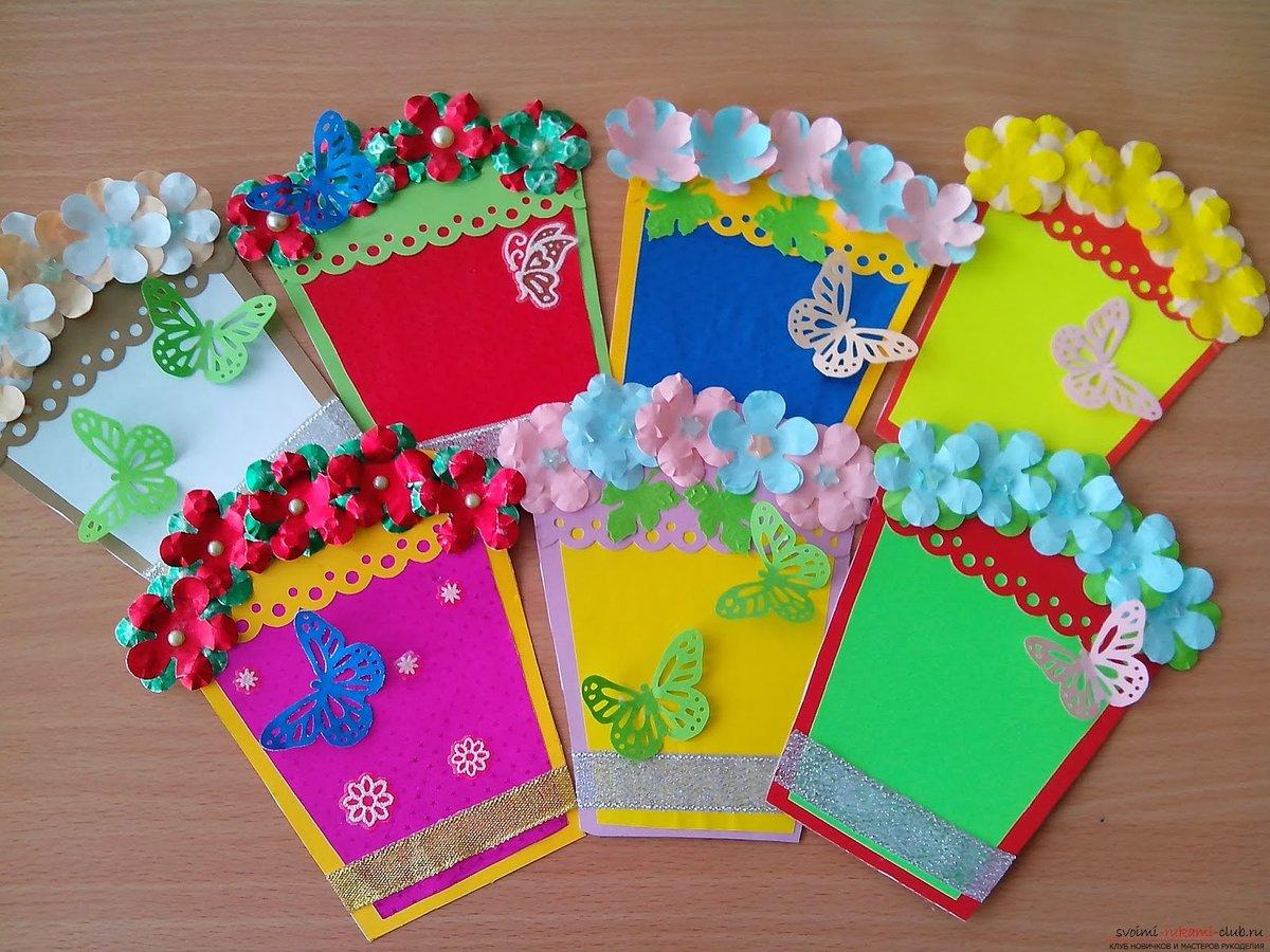 Днем рождения, изготовление открытки в детском саду