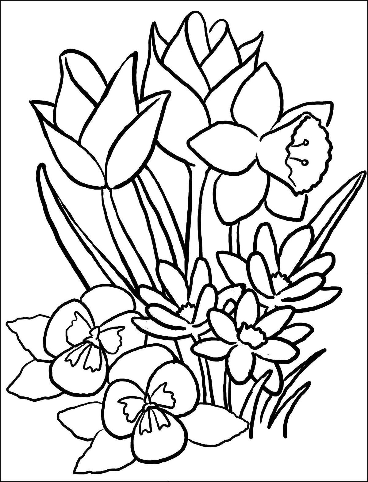Продажа, весенний букет цветов рисунки