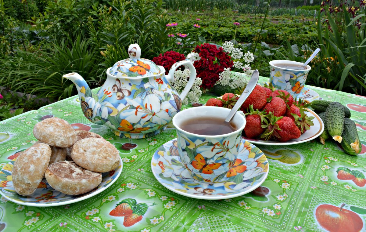 День, открытки завтрак в саду