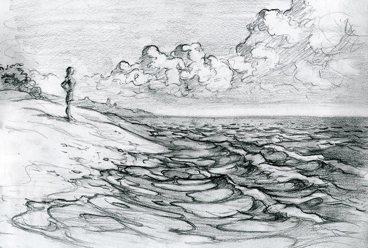 картинки моря простым карандашом хэйлар