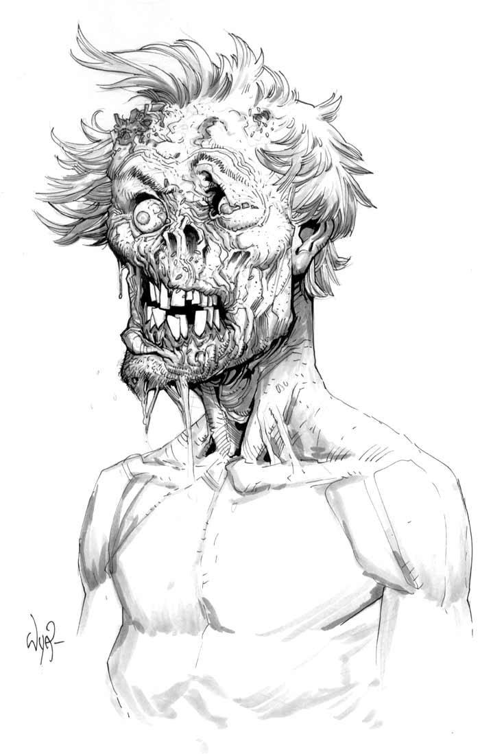 Черно белый рисунок зомби