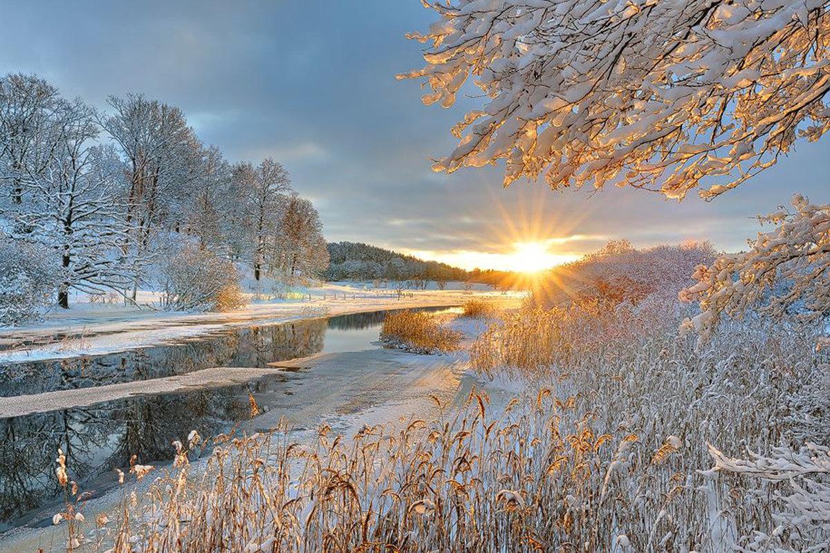 фото зимнего рассвета художник