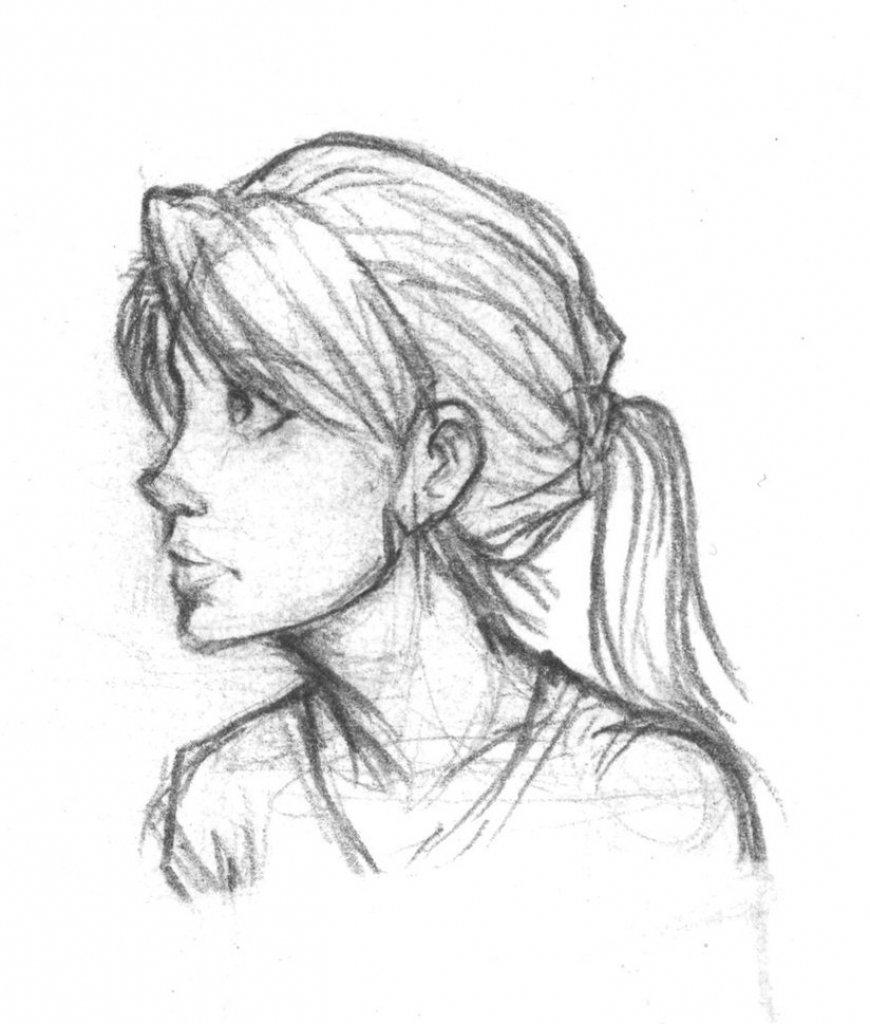 Картинки девушек для срисовки сбоку