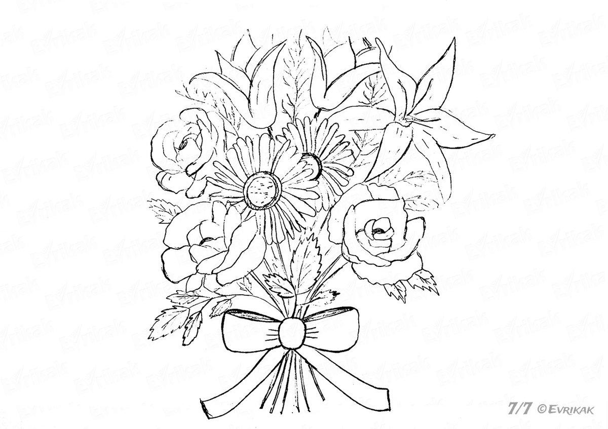 Картинки как нарисовать букет цветов