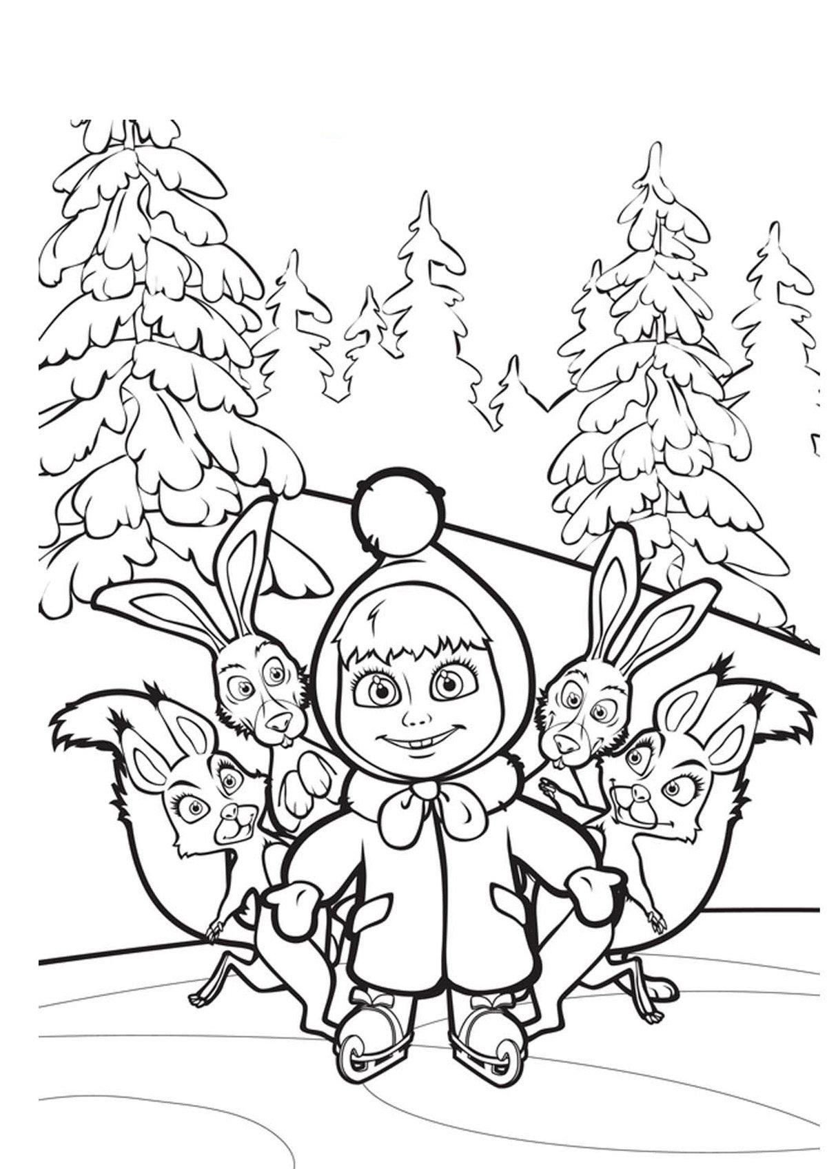 Маша и медведь картинки раскраски новый год