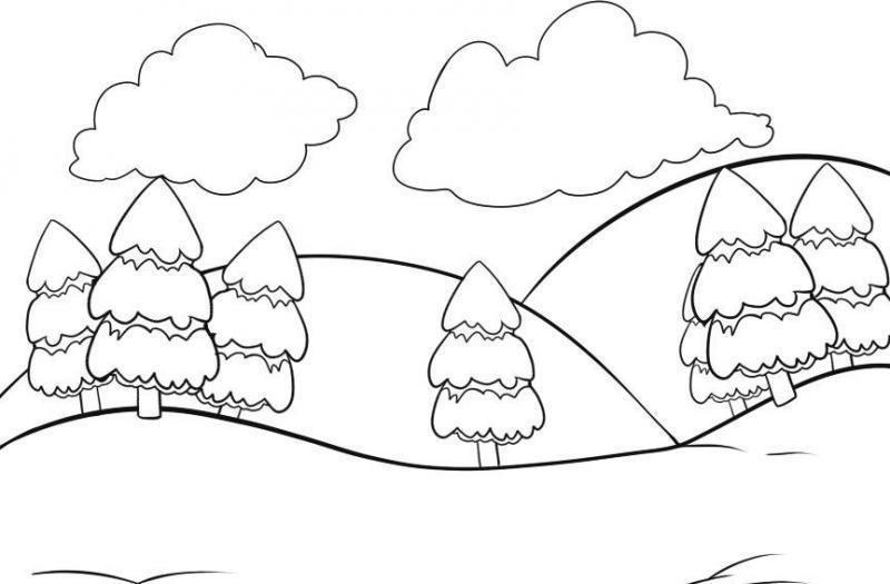 Зимний пейзаж картинки для детей рисовать поэтапно