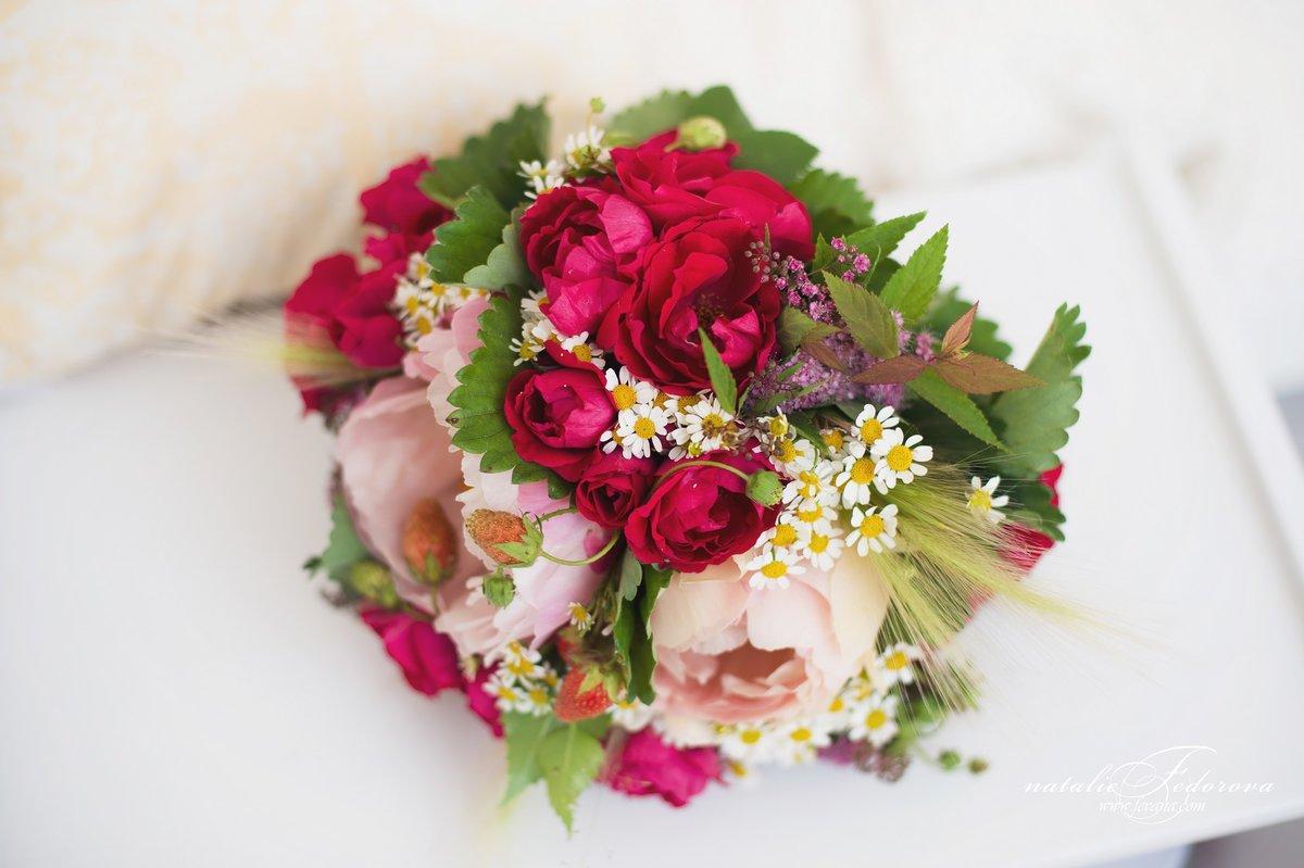Букет гортензия, свадебный букет из пионов и ромашек