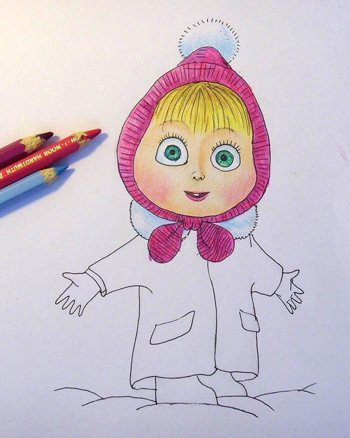 Маша и медведь рисунок карандашом, открытки