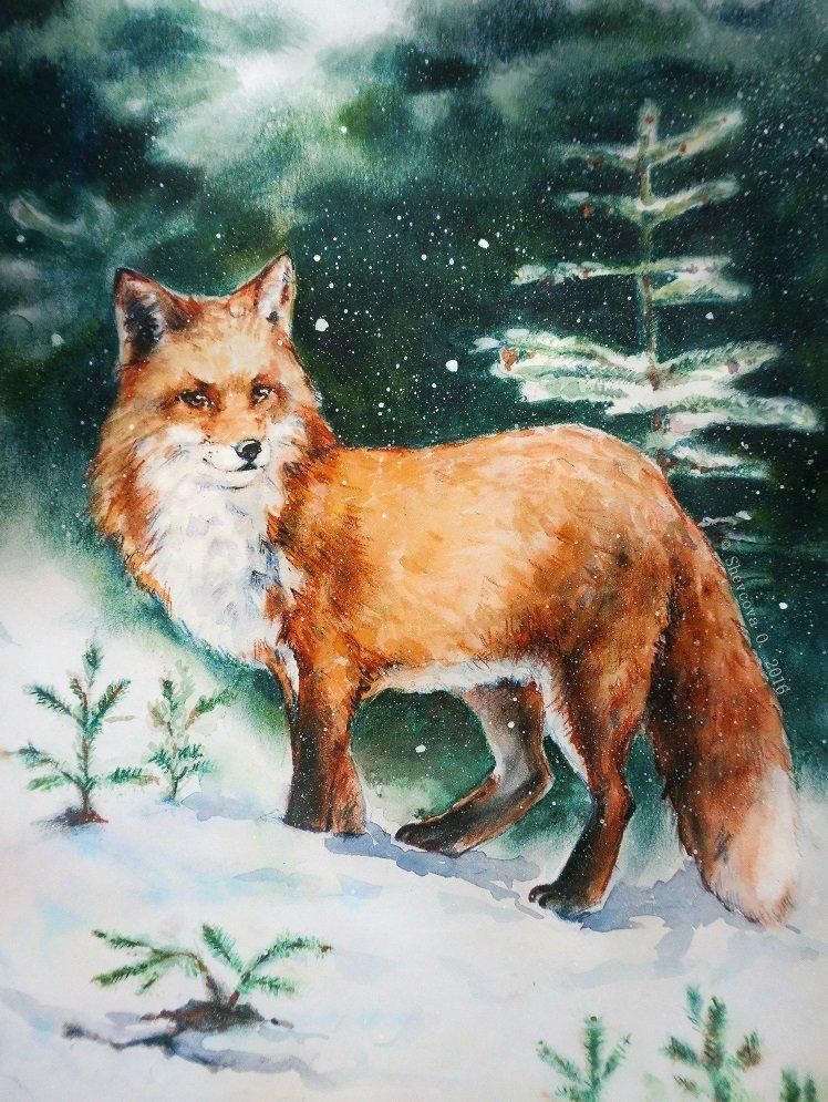 лиса в зимнем лесу рисунок гуашью красивые