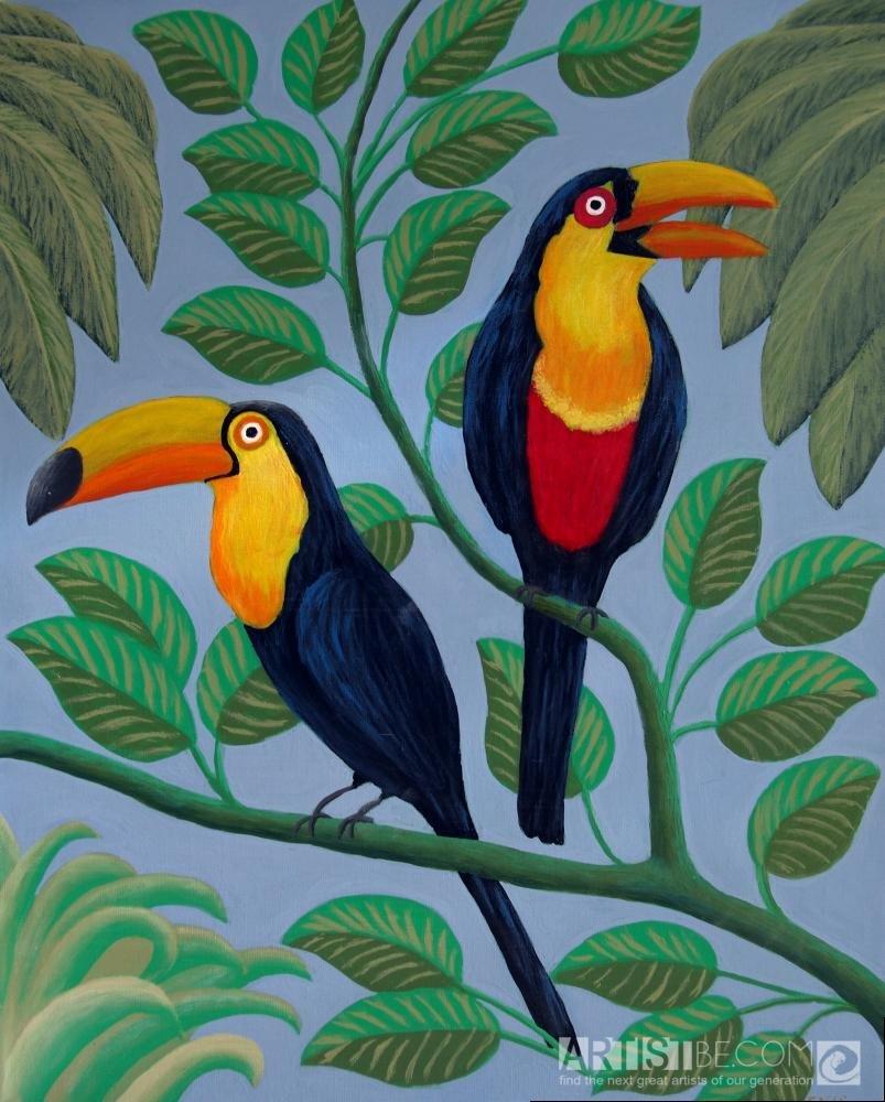 они тропическая птица рисунок наростами