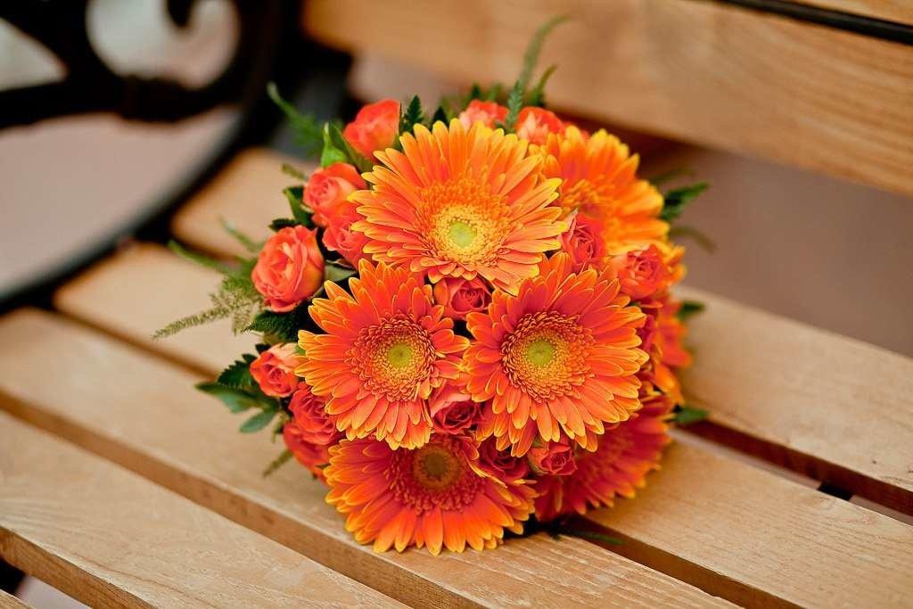 Цветов, свадебные букеты из оранжевых герберы