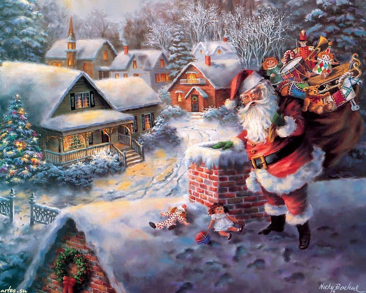 Новогодние открытки европа