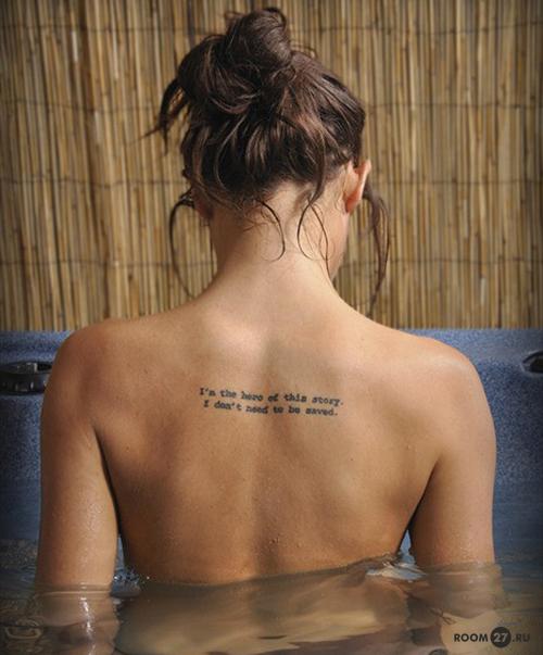 тату на спине женские надписи фото