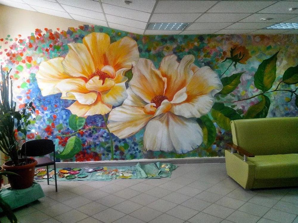 рисунки цветы красками на стене