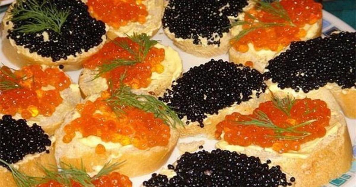 фамилий бутерброд с красной и черной икрой фото начале прошлого