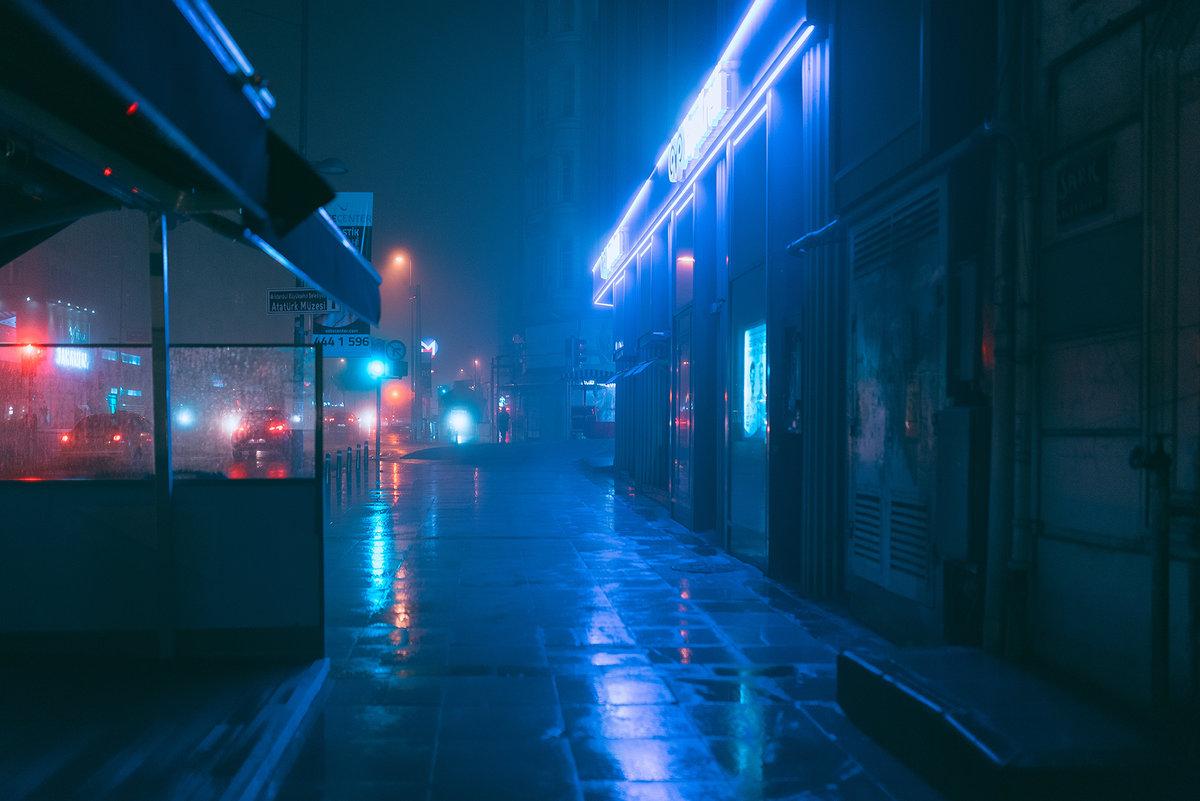 flashy neon lit night scene - HD1200×801