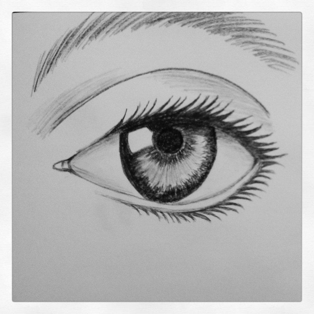 Глаза рисунки карандашом прикольные, надписью праздником ураза