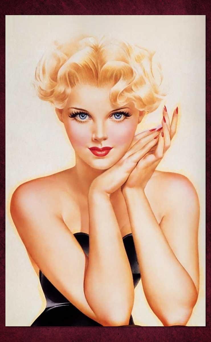 Гифки, картинка пин ап блондинка