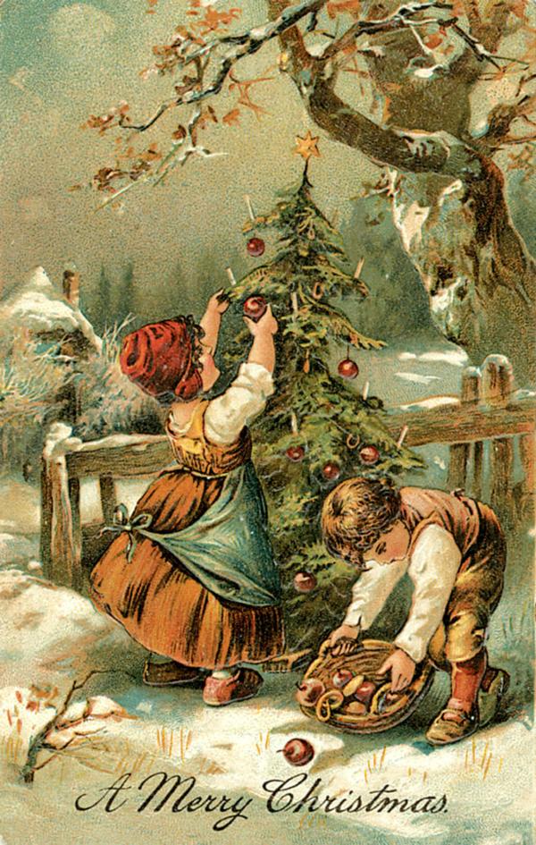 Картинки с новым годом винтажные