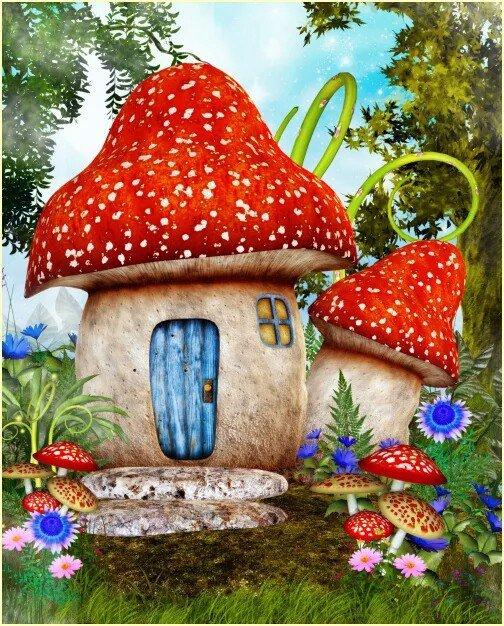 картинки сказочных домиков гномов