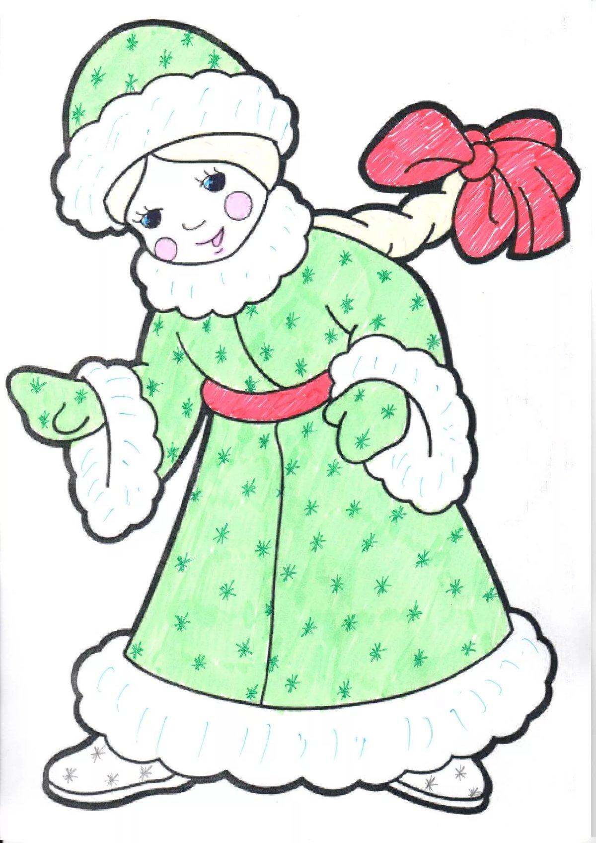 Картинки снегурочка для срисовки