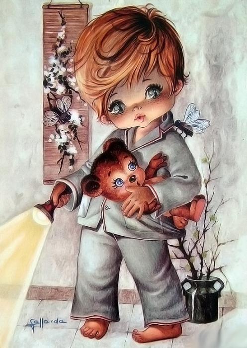 Ретро открытки спокойной ночи малыши, днем рождения лучшему