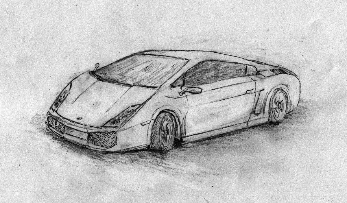 Крутые машины рисунки карандашом с боку