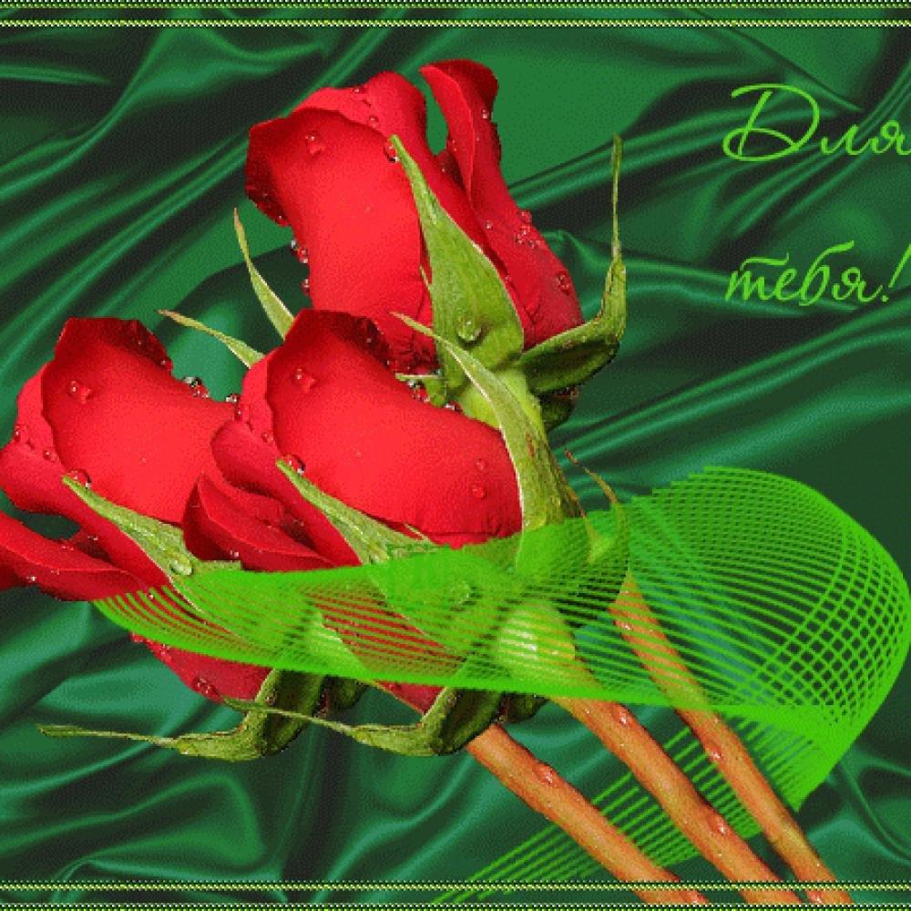 Гифка цветы для тебя, матрешка для