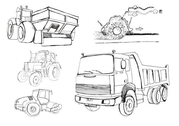 Спецтехника рисунок карандашом пассажирские перевозки из крыма в луганске