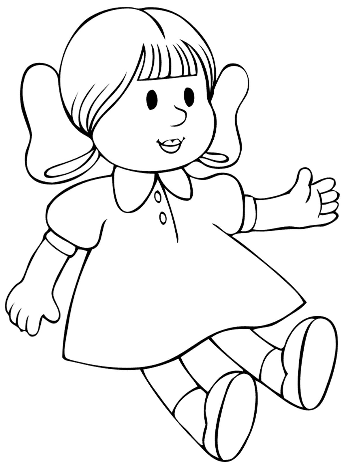 кукла раскраска картинка