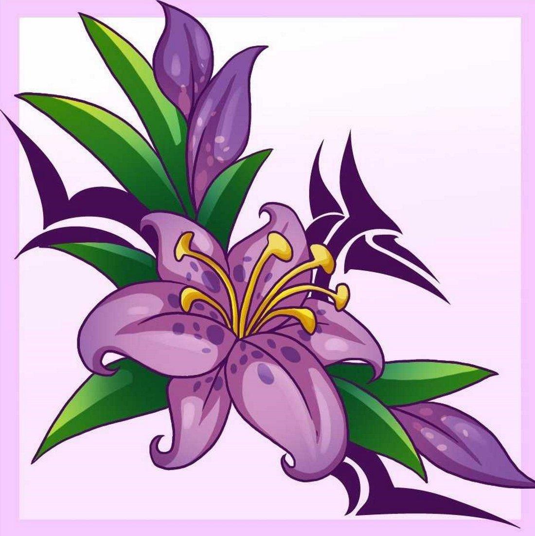 Открытки рисованные с лилиями, для