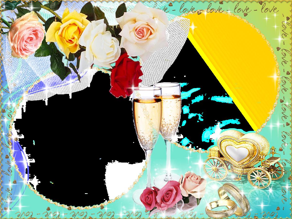 Открытка для фотошопа с золотой свадьбой