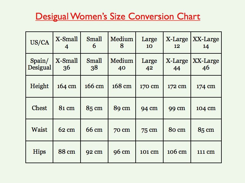 Ff Desigual Size Conversion Chart001 Card From User Daniela In