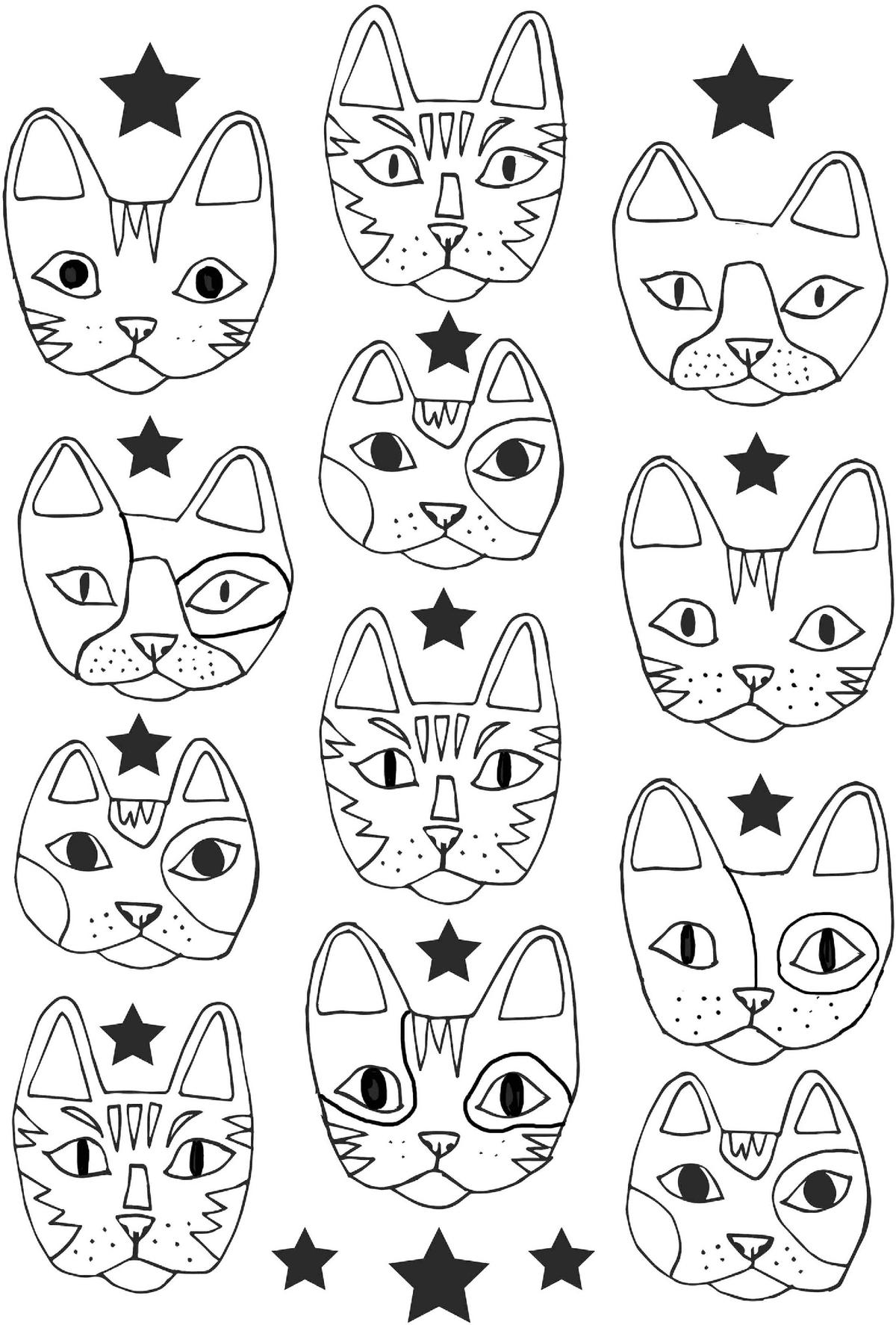 Распечатать картинки кошек мордашки антистресс