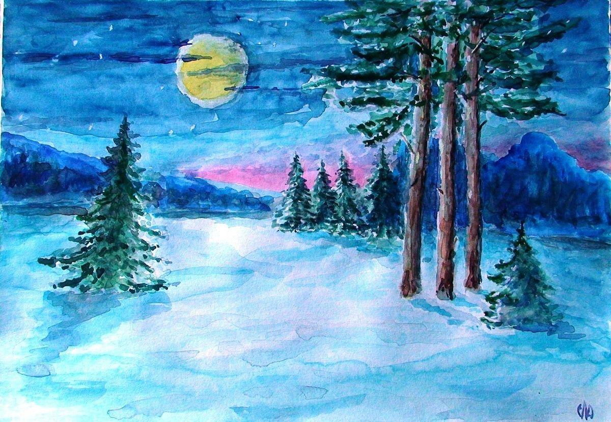 Детские рисунки зимы гуашью
