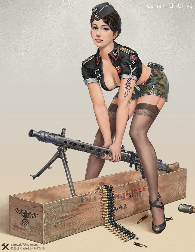 Только нарисованные секси девушки в военной форме картинки