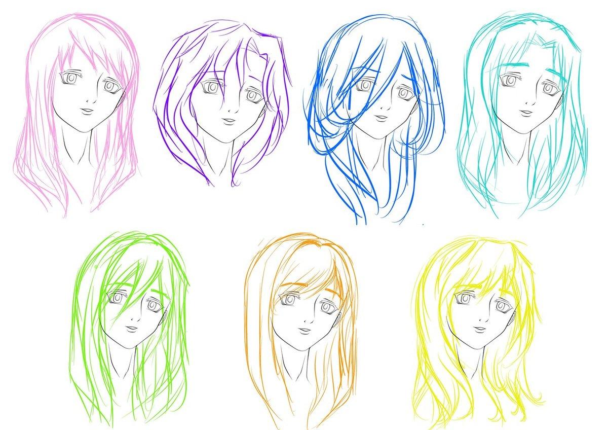 Картинки анимешных волос
