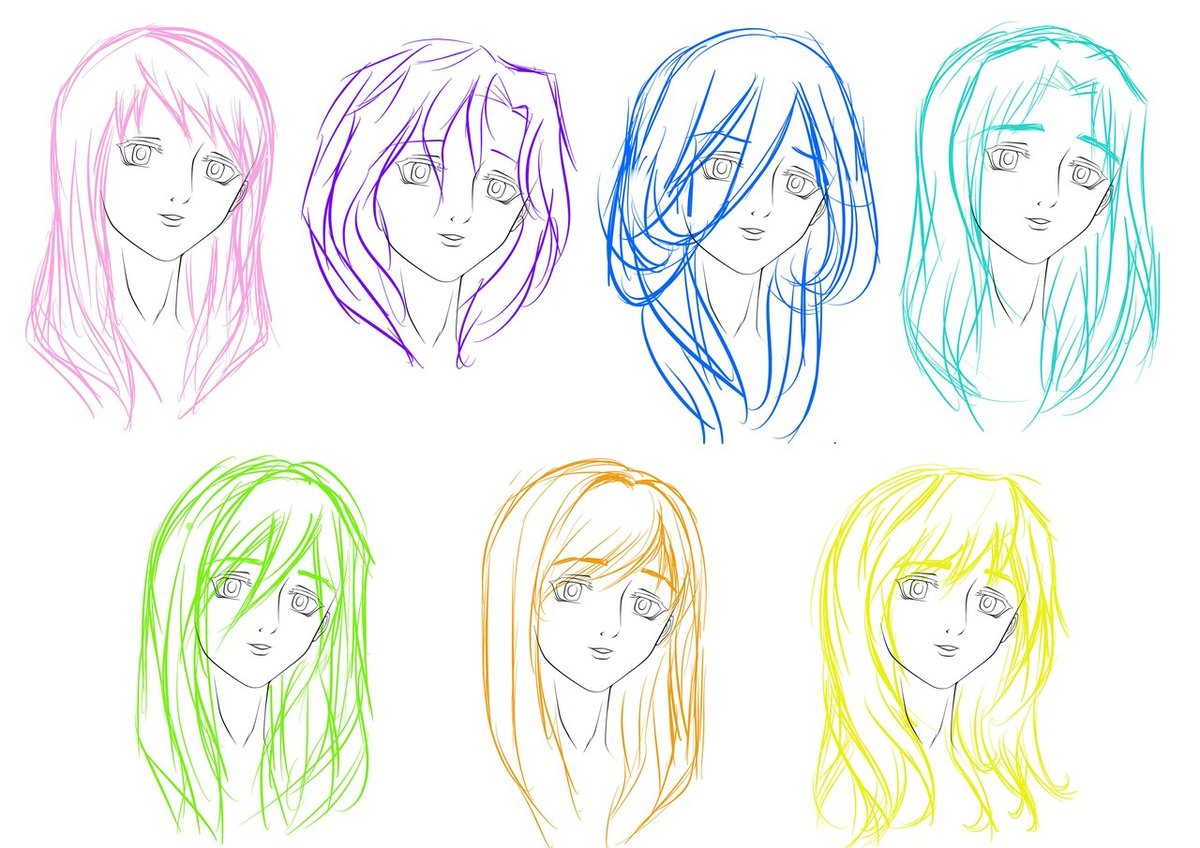 Картинки аниме волосы девушки карандашом поэтапно
