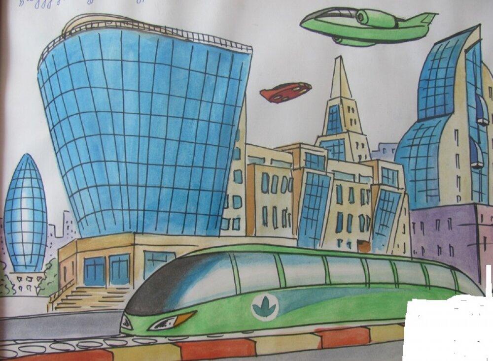 рисунок город мечты карандашом глиняные