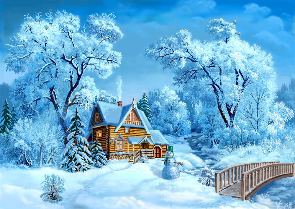 Новогодние пейзажи для открыток, писать открытку поздравление
