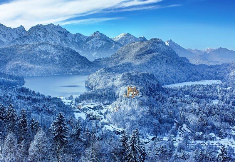 Германия южная Бавария замок Хоэншвангау Гогеншвангау зима