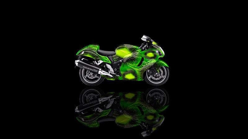 Moto Suzuki Hayabusa Side Kiwi Aerography Fruit Bike
