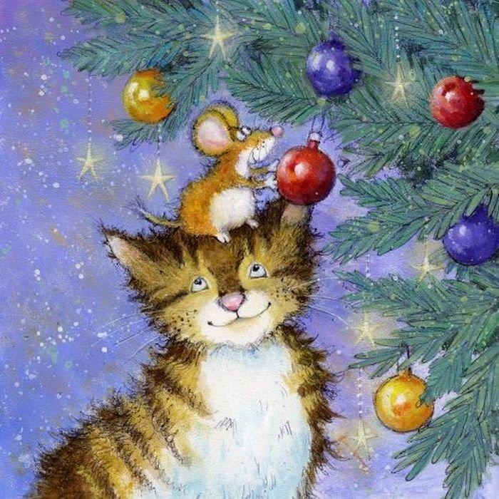 Новогодние открытки котов, для такси картинки
